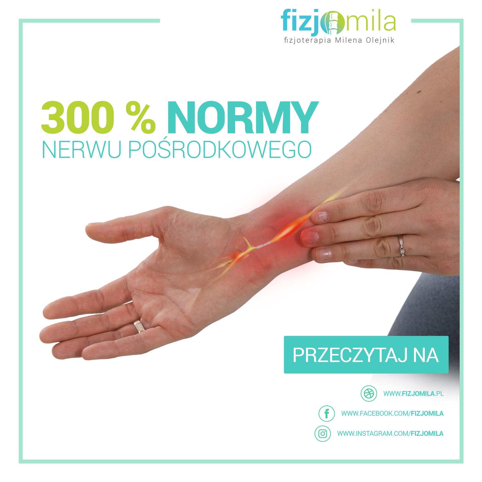 300 % normy nerwu pośrodkowego